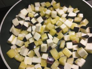 quiche di melanzane e zucchine gialle gourmama cottura cubetti melanzane