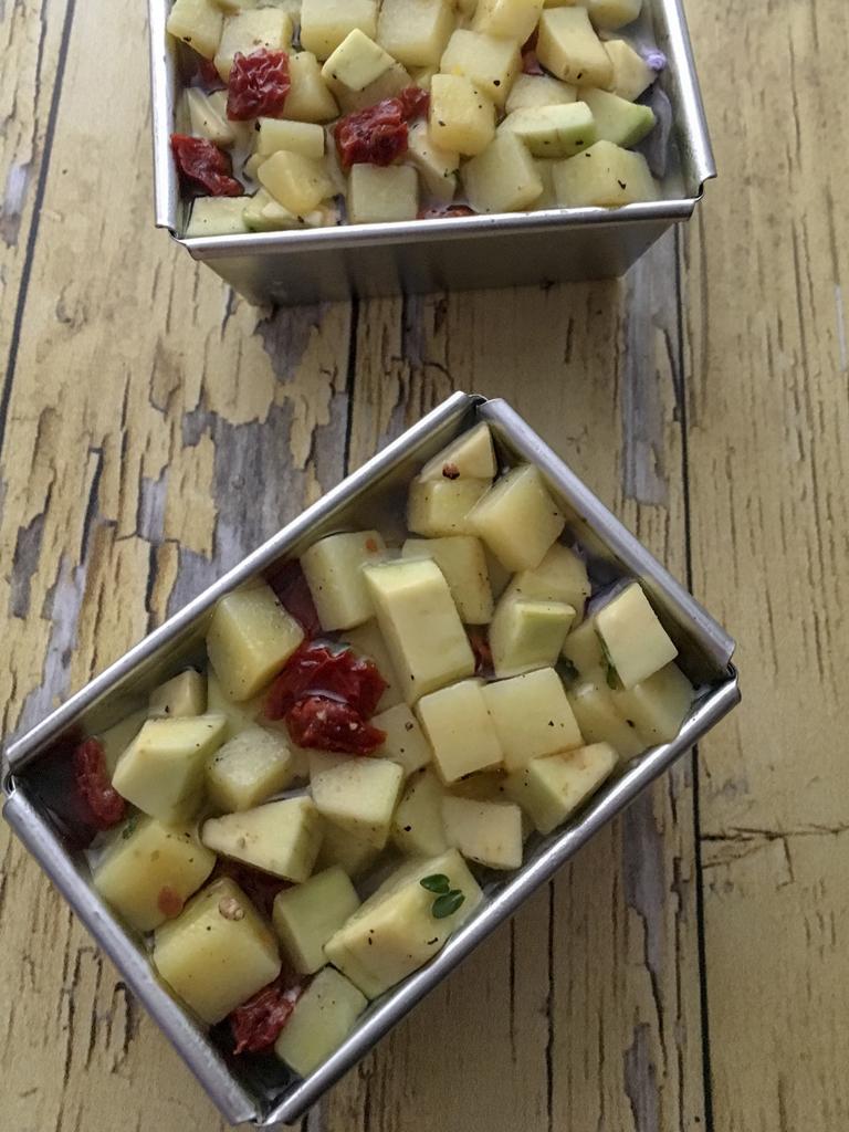aspic di patate avocado e pomodori secchi aspic ultimo strato