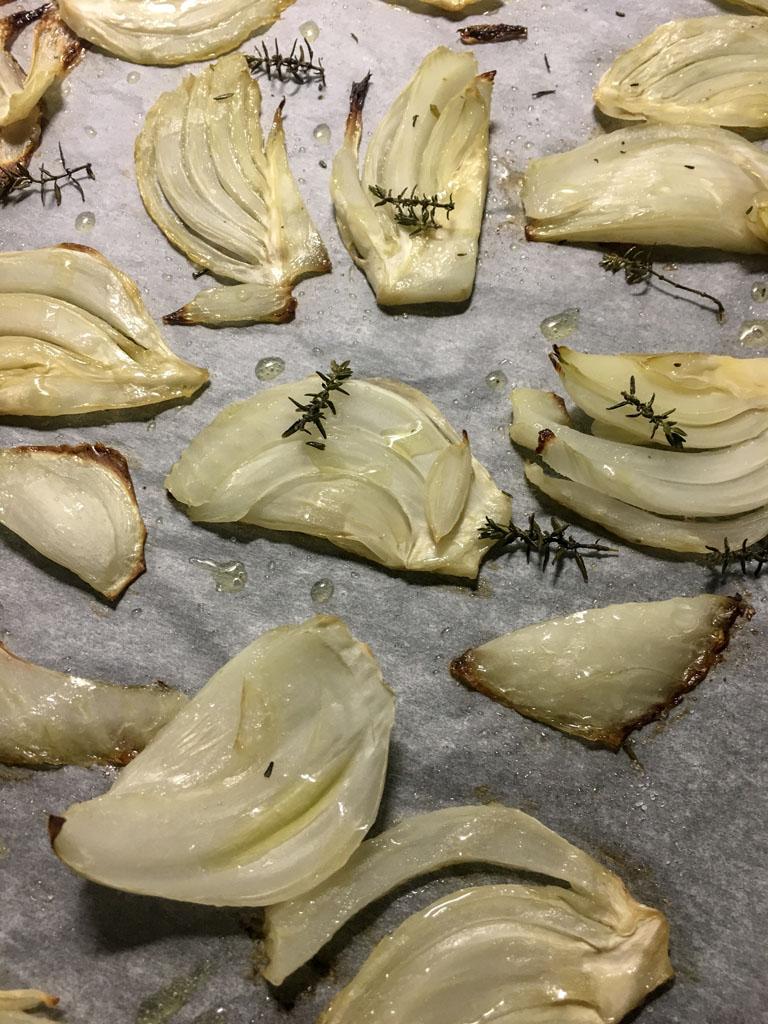 filetto di maiale con finocchi al timo e olive taggiasche finocchi cotti