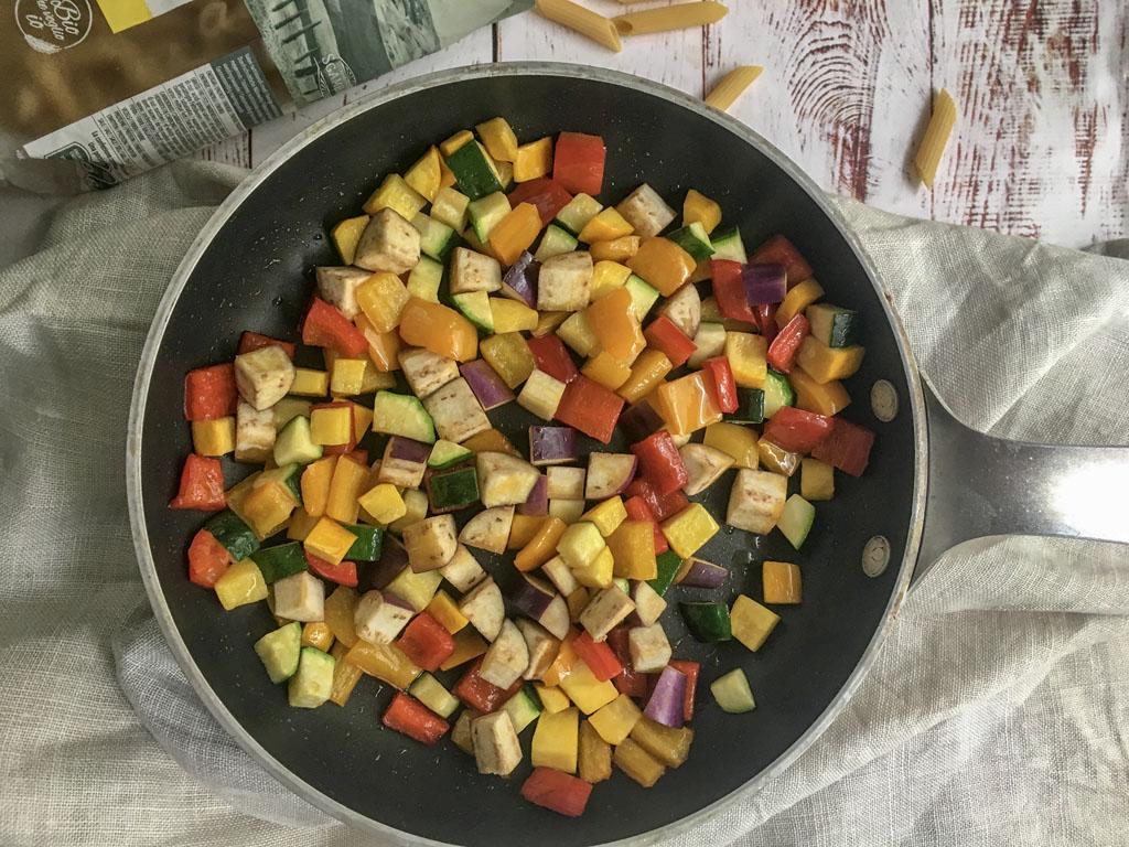 penne di grano khorasan kamut con verdure e fatulì cottura verdure_3 gourmama