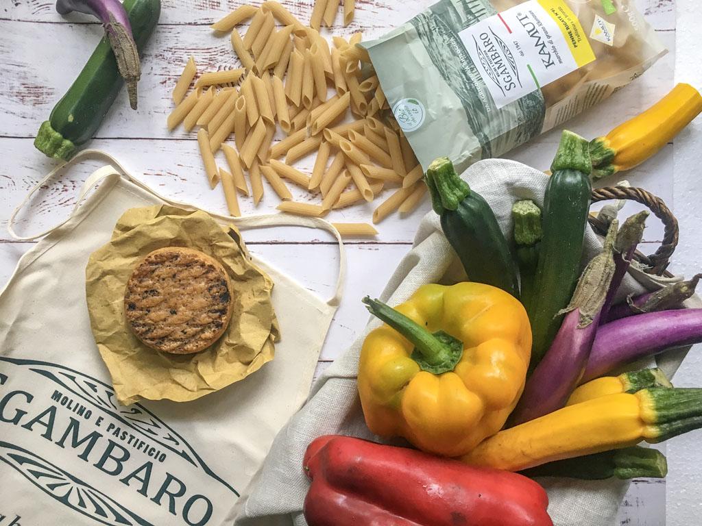 penne di grano khorasan kamut con verdure e fatulì ingredienti_1 gourmama