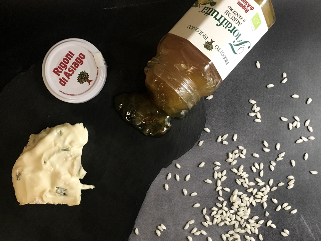 risotto al gorgonzola con marmellata di agrumi e zenzero presentazione ingredienti_2