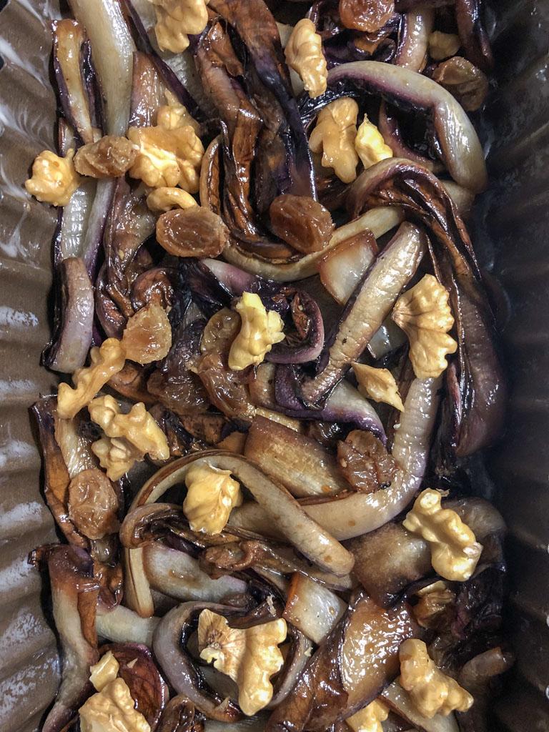 tarte tatin al radicchio con brie e noci riempimento stampo