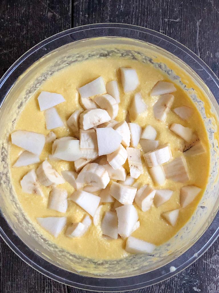 torta rovesciata alle banane e pere preparazione_3