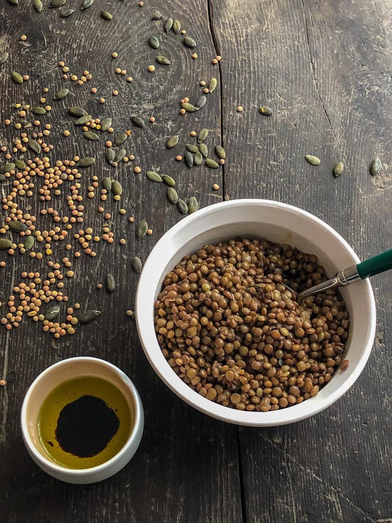 zucca arrosto con formaggio di capra e lenticchie lenticchie