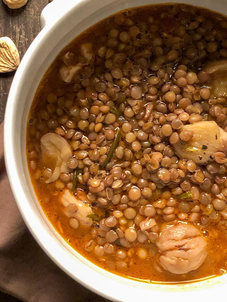 zuppa di lenticchie e castagne ingredienti presentazione dettaglio